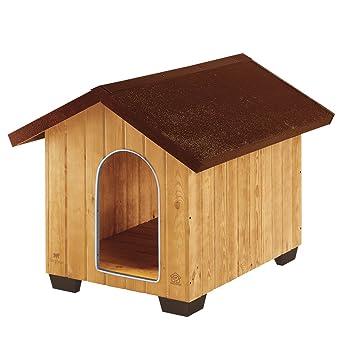 Feplast 87003000 Caseta de Exterior para Perros Domus Large, Robusta Madera Ecosostenible, Pies de Plástico, Rejilla de Ventilación, 81.5 x 102.5 x 78 Cm: ...