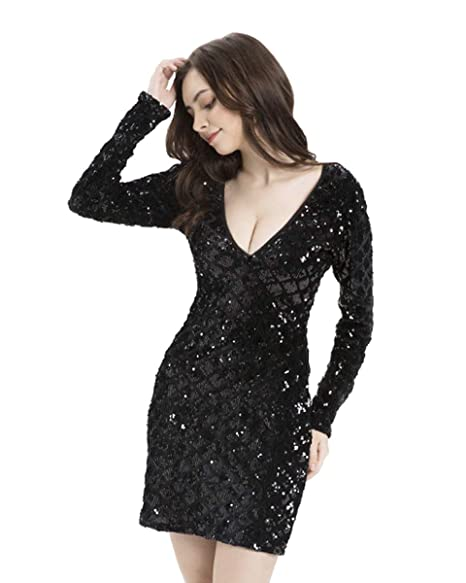 f73d4d0fd9 BLINGLAND Women s Sexy Deep V-Neck Bodycon Dress Sparkly Sequin Cocktail Long  Sleeve Mini Dresses