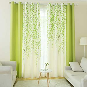 Riyidecor Lime Green and White Tree Leaf Print Curtains 2 Panels Each 52 x 84 Inch Nature Birds Patio Door Dining Room Living Room Bedroom Light Color Fresh Printed Drapes Window Treatment Fabric