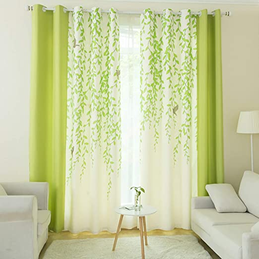 Riyidecor Lime Green and White Tree Leaf Print Curtains 2 Panels Each 52 x  84 Inch Nature Birds Patio Door Dining Room Living Room Bedroom Light Color  ...
