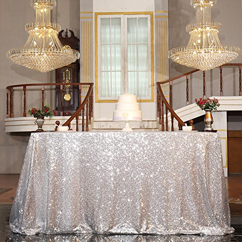 PartyDelight Sequin Tablecloth, Sequin Table Overlay Square, 50