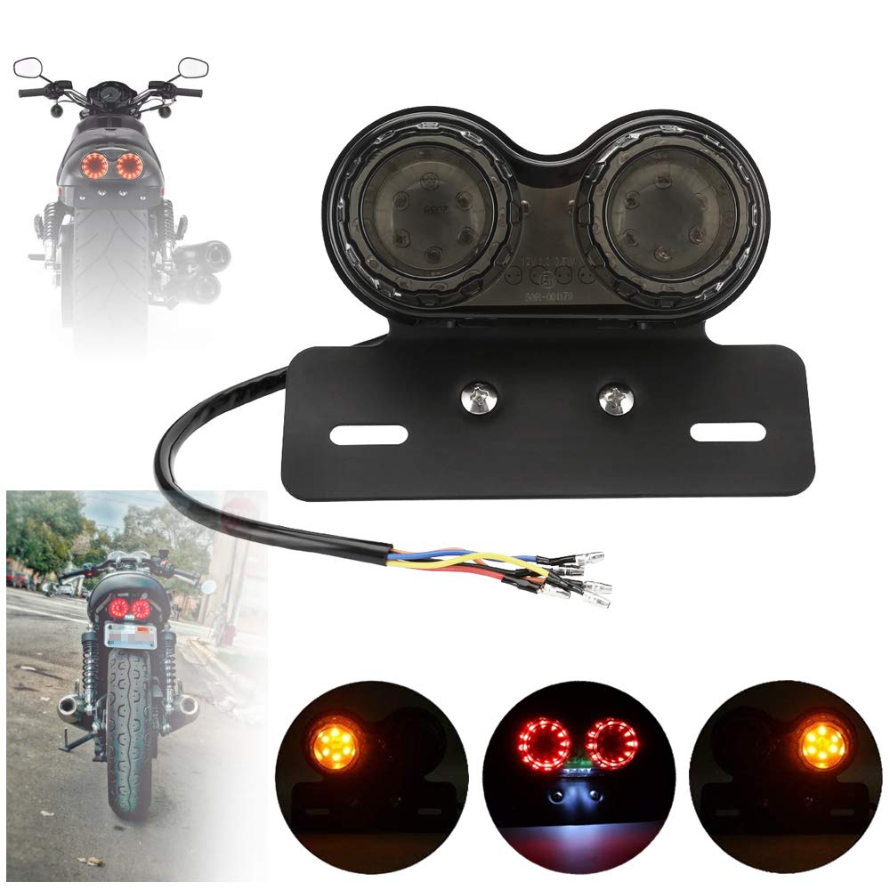 DLYMotor Motorcycle Tail Light Bike Brake Light Turn Signal License Plate  Bracket All-in-One for Harley Yamaha Honda Kawasaki