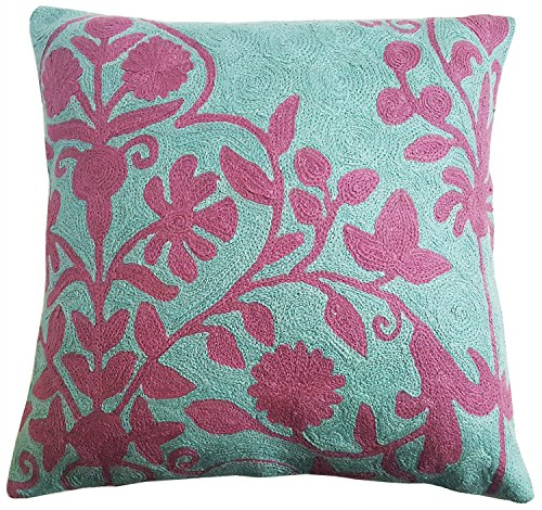 "Crewel Bedding (Mehrunnisa (16""X16"" Exclusive Hand Embroidered Crewel Work Cushion Cover from Kashmir (HOM2269))"
