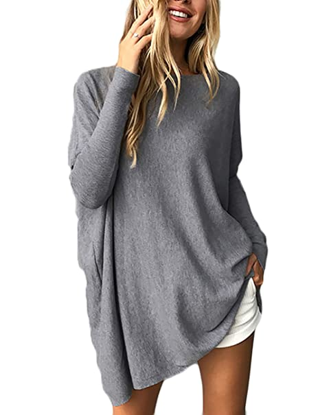 Boutiquefeel Blusa Casual de Manga Larga de Color Sólido Top para Mujer Gris Small