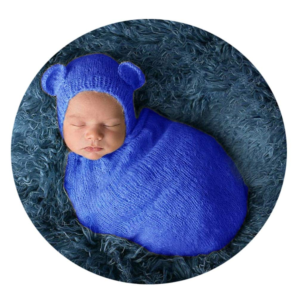 KMCMYBANG Baby Photography Clothing Newborn Boy Girl Baby Costume Outfits Photography Props Hat +Sleeping Bag Multi-Color Optional Baby Photography Props (Color : Blue, Size : S) by KMCMYBANG