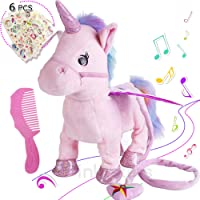 Electronic Pet Unicorn Small Pegasus Pink,Cute Plush Toys Singing Walking Musical Puppy Pet Soft Toys for Baby Safe & Durable | Gift Toy for Toddlers,Kids & Pets …