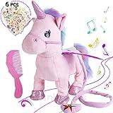 Electric Unicorn Pet Kids Leash Plush Pink Wings