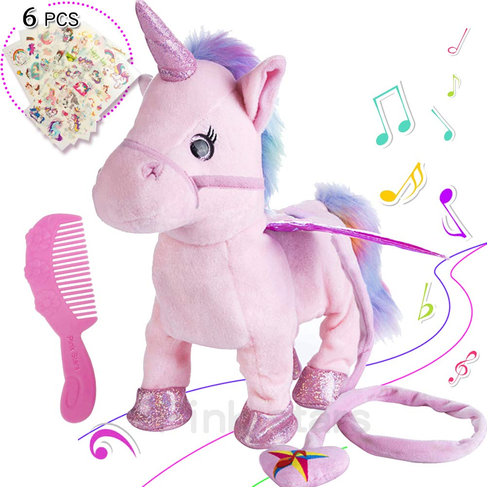 Electric Unicorn Pet Kids Leash Plush Pink Wings Stuffed Animal Toy,Sing Song Walk Twisting Super Cute Ass Unicorn Child Girl Baby Accompany Sleeping Animal Soft Toys Gift by Pink stars