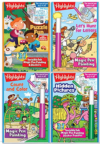 Invisible Ink Books (Highlights Magic Pen Painting Activity Books Includes 4 Books: Highlights Hidden Pictures, Fun Puzzle, Let's Hunt for Letters, Count and Color Invisible Ink Magic Pen Painting)