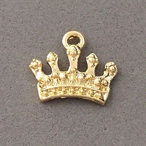 14k gold plated crown charm bead pendant bracelet necklace plated findings (Crown Charms Plated)