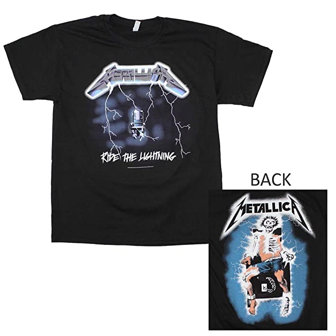 c2252b5cf Amazon.com  RockWaresUSA Metallica Ride The Lightning 2-Sided T ...