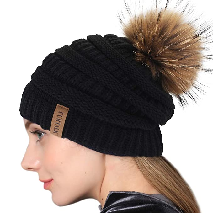 bdd8a6f334d4c Image Unavailable. Image not available for. Color  Winter Real Fur Pom Beanie  Hat Warm ...