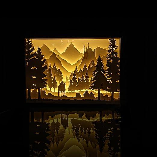 Neuheit Led Knight Fernbedienung Usb Stereo Rahmen Aus Holz 3d Lichter Lampe Kerbschnitzsatz Aus Papier Licht Nacht Basteln Amazon De Beleuchtung