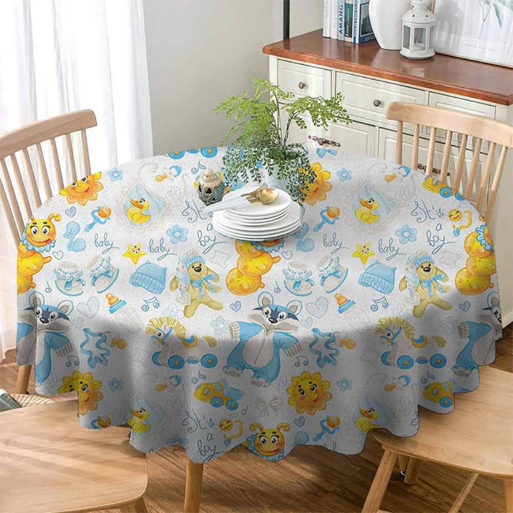 Xlcsomf Durable Round Tablecloth Nursery Easy to Care Its a Boy Image with Happy Sun Raccoon in Pyjamas Blue Hats and Pacifier,D71(180cm) Earth Yellow Aqua by Xlcsomf