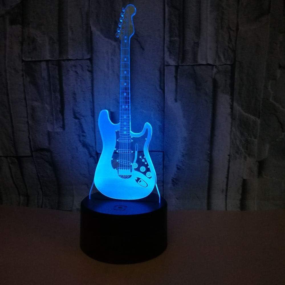 Lámpara 3D Lámpara de mesa de ilusión nocturna para guitarra eléctrica batería AA/USB Interruptor táctil/remoto 7 colores para decoración de mesa y decoración nocturna: Amazon.es: Iluminación