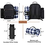 Sunflora Picnic Backpack for 4 Person Set Pack with Stainless Steel Flatwares and Insulated Waterproof Pouch for Family Outdoor Camping