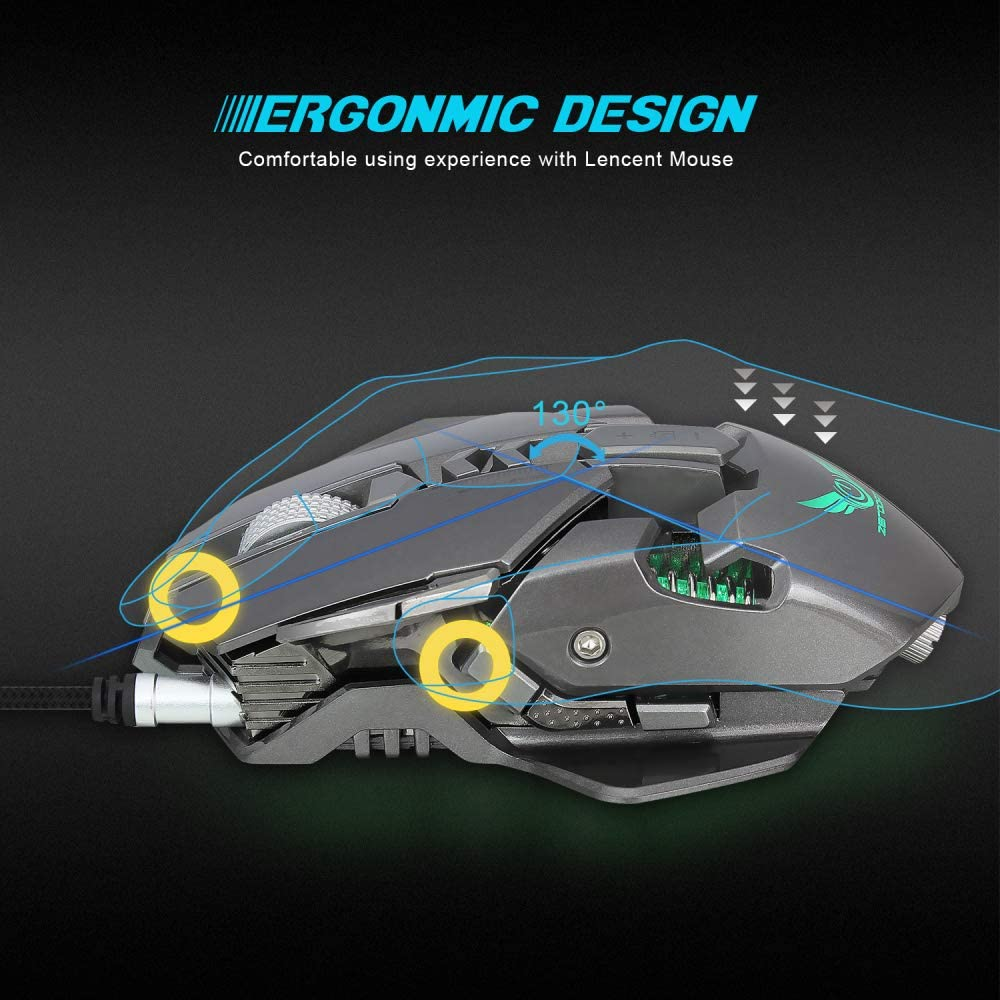 Alician ZERODATE 3200 DPI USB Wired Gaming Mouse 7 Programmable Buttons Mechanical Macro Definition Programming Game Mouse White