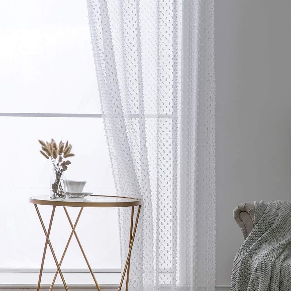 MIULEE 2 Unidades Cortinas Bordado Translucida de Dormitorio Moderno Ventana Visillos Rayas Salon Paneles con Ojales Plateados para Sala Cuarto Comedor Salon Cocina Habitaci/ón 140x145cm Blanco Denso