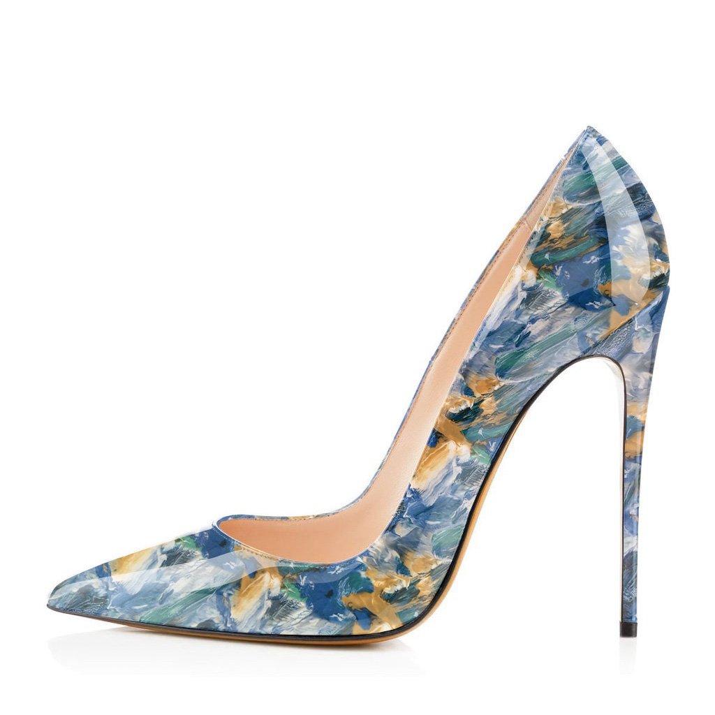 FSJ Women Fashion High Heel Stilettos Pointed Toe Pumps Evening Dress Printed Shoes Size 4-15 US B07DR7Z45B 5 B(M) US|Blue Multi