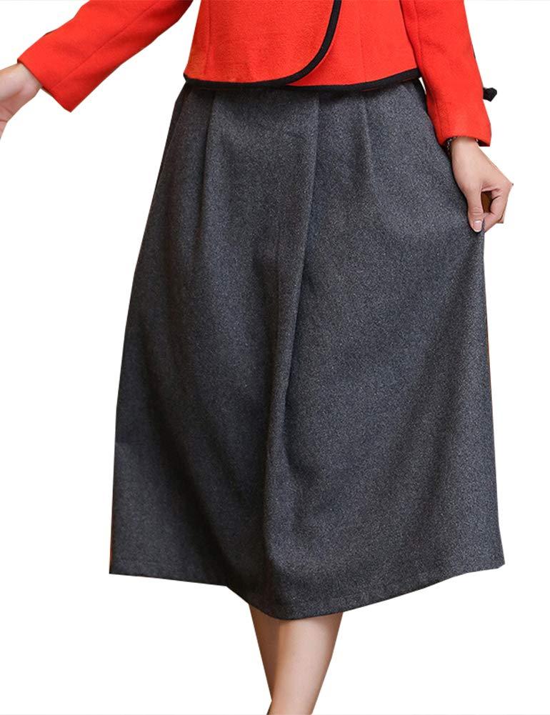 IDEALSANXUN Women's Spring/Summer Cotton Linen Midi A-line Skirt with Pocket (#3 Grey, Medium)