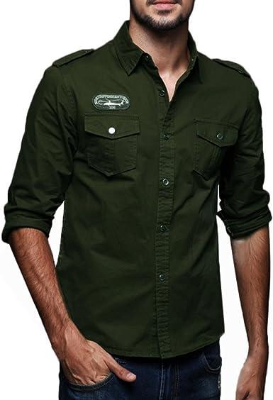 Camisa para Hombre Manga Larga De Camisa para Hombre Mode De Marca Camisa Casual Militar Cargo