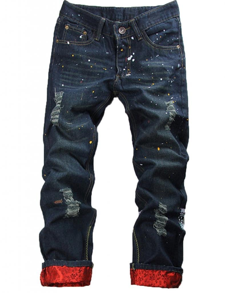 NEW Classic Men Stylish Designed Straight Slim Fit Trousers Casual Jeans Pants