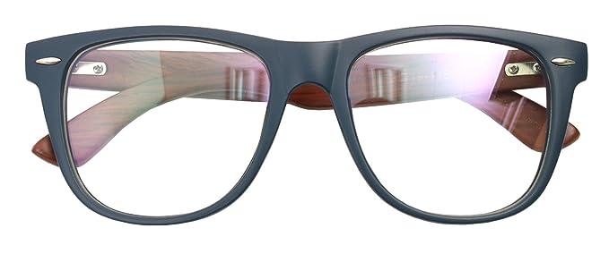 Amazon.com: Real Bamboo Wood Temples Eyeglasses Frames Men Women ...