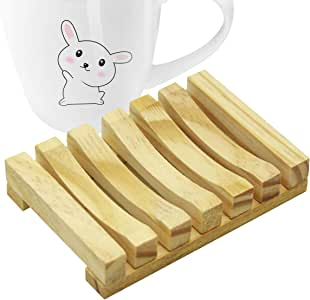 Extrapins 1Pack Bathroom Natural Wooden Soap Case Holder,Hand Craft Natural Wooden Holder for Sponges and Scrubber,Bathtub Shower Dish Accessories
