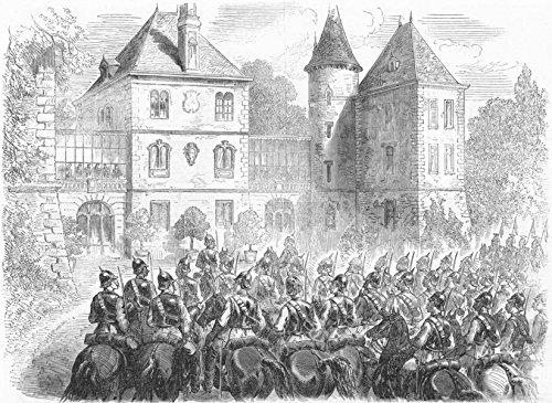 SEDAN. Napoleon's Prussian guard, Chateau Bellevue - 1870 - old antique vintage print - engraving art picture prints of France Militaria - Illustrated London ()