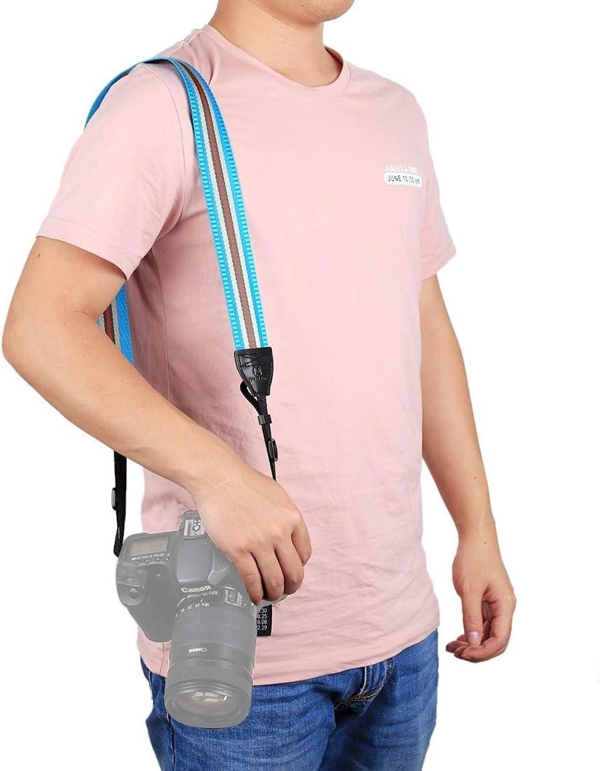 Stripe Style Series Shoulder Neck Strap Camera Strap for SLR//DSLR Cameras Durable Color : Lake Blue