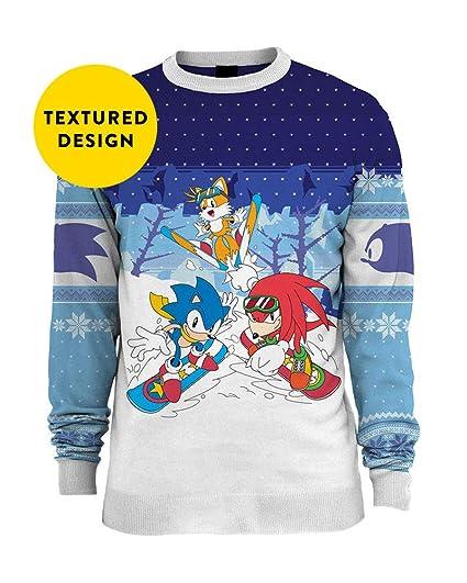 Amazoncom Sonic The Hedgehog Ugly Christmas Sweater Skiing For Men