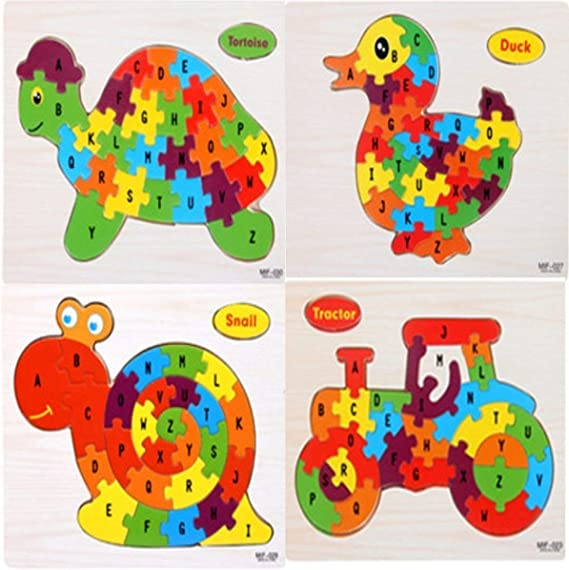 TEMSON A-Z English Alphabet Learning Wooden Jigsaw Puzzle Blocks Jigsaw Puzzles, Wooden Alphabet Jigsaw Puzzle Wooden Building Blocks Animal Wooden Puzzle for Children's Puzzles Toys (Pack of 4)