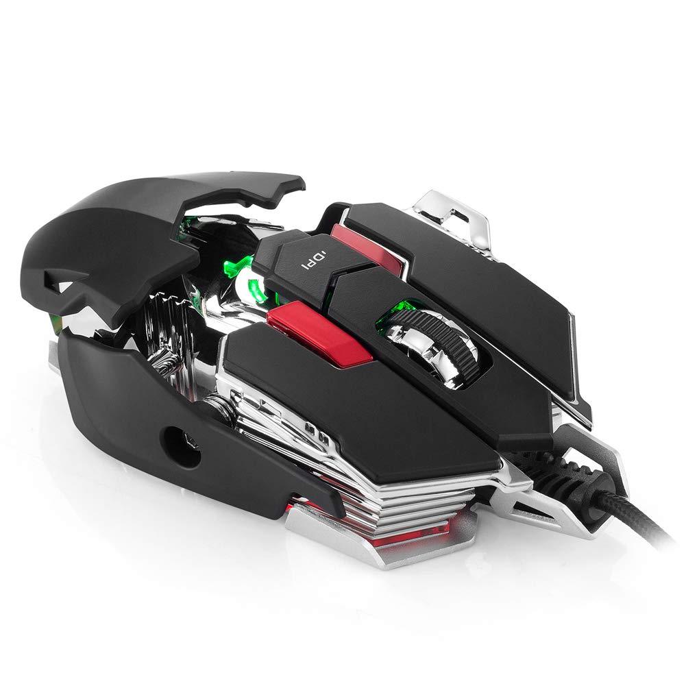 SELCNG Gaming Mouse 5500DPI 10 Key 4 Color RGB luz de respiraci/ón-Black