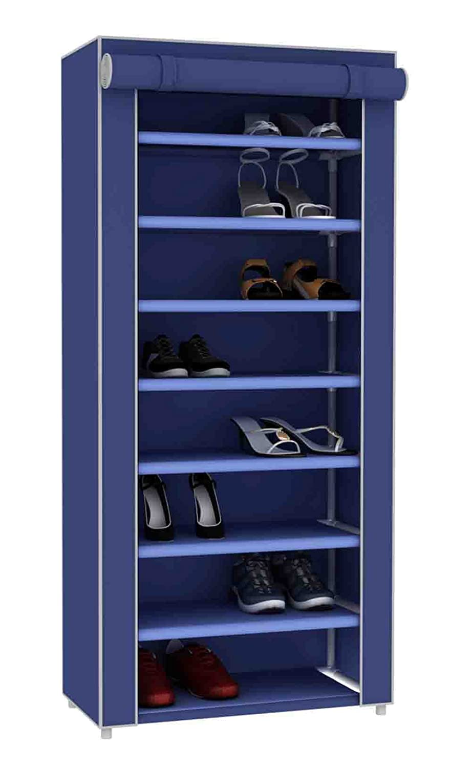 Sunbeam Multipurpose Portable Dust Free Wardrobe Storage Closet Rack for Shoes and Clothing 7 Tier/Fits 24 Pairs of Shoes Heavy Duty Non Woven Material Gray with Roll Down Cover (Navy)