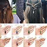 UBOOMS Women Alloy Moon Hair Clip Natural Stone Pendant Charms Clamp Hairpin Barrettes Bobby Pins Hair Ornament Decoration Accessory