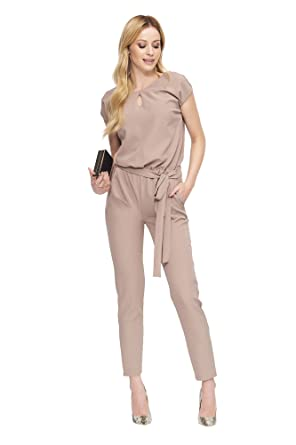 872bafe70bb6 MAKADAMIA Womens Boat Neck Short Sleeve Tie-Waist Loose Fit Modern Drawstring  Waist Jumpsuit Playsuit