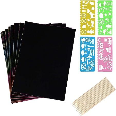 pochoirs dart /à gratter tablettes /à dessin Papier dart /à gratter 20 feuilles tableaux de grattage en papier /à peindre avec un paquet de 10 stylets en bois et 4pcs r/ègles de dessin pour enfants