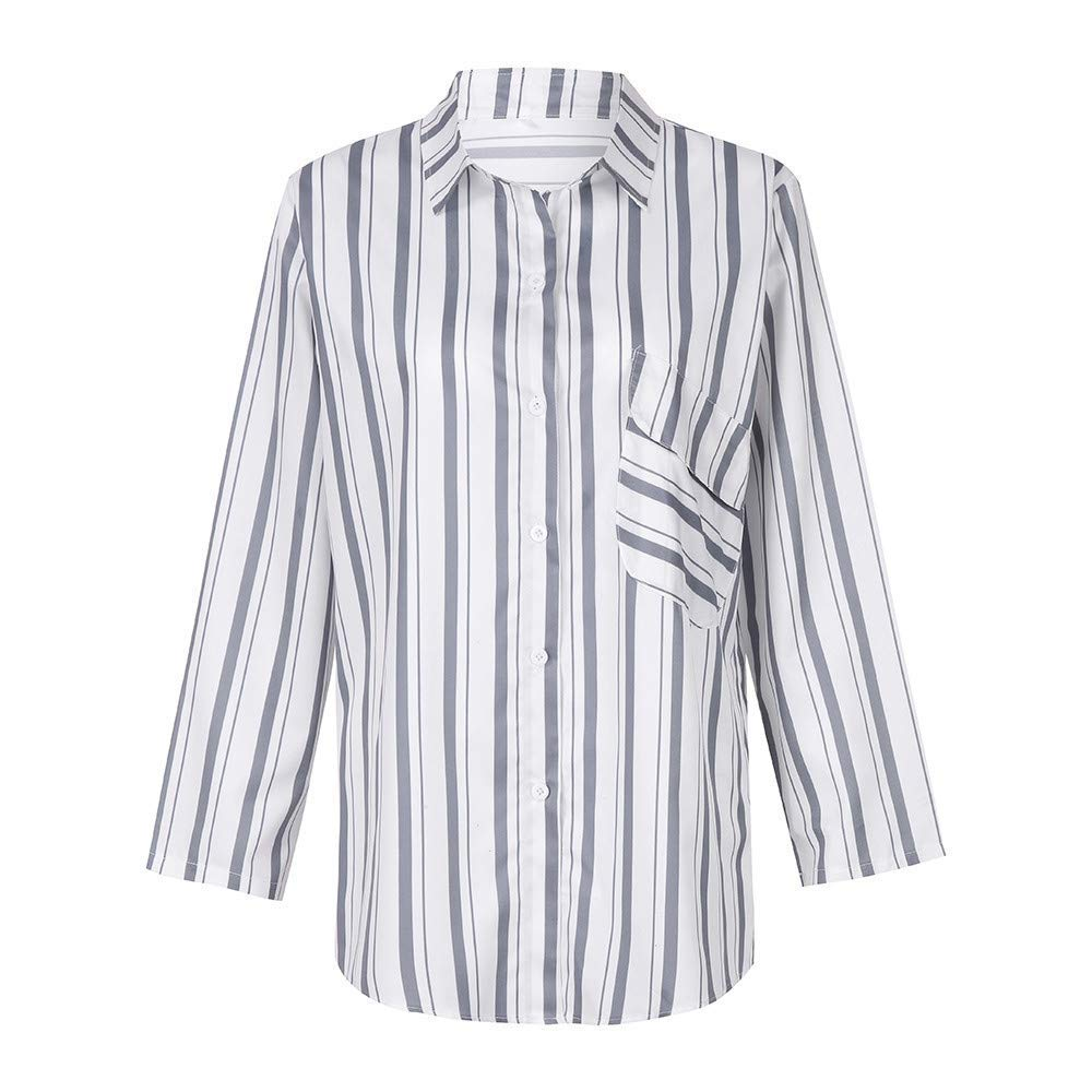 mamak Women/'s Long Sleeve Button Down Shirt Blue #04-Small