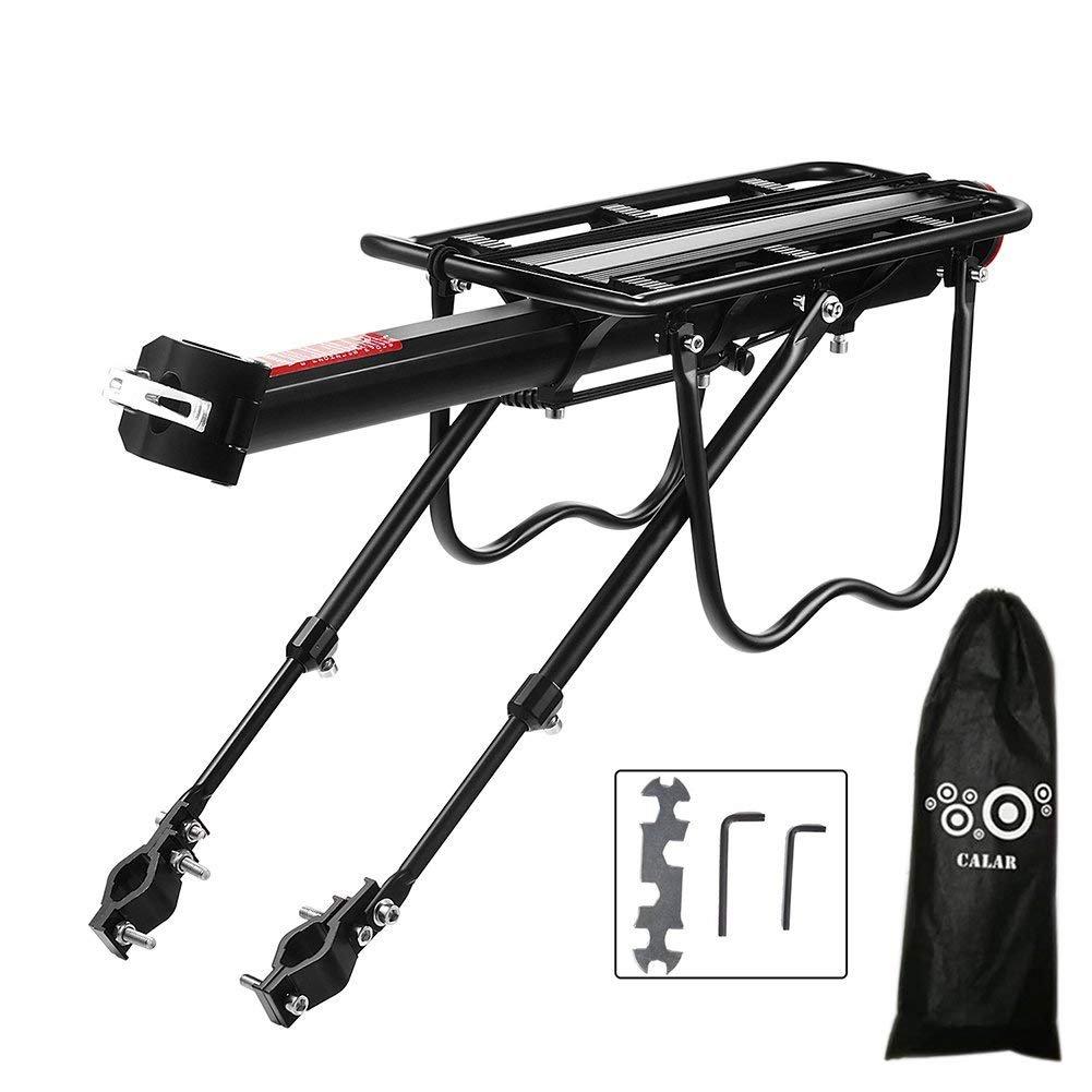 Calar Rear Bike Rack, Adjustable Pannier Bicycle Cargo Rack Quick Release Aluminum Alloy Bike Luggage Carrier Rack 115 Lb Capacity