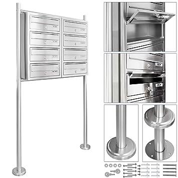 V2Aox Acero Inoxidable Moderno Sistema Buzón Caja De Correos Compartimentos Selección, Número de buzones: