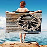 iPrint Barn-Wood-Wagon-Wheel Quick Dry Plush Microfiber (Towel+Square scarf+Bath towel) Old-Log-Wall-with-Cartwheel-Telega-Rural-Countryside-Themed-Image-Decorative And Adapt to any place
