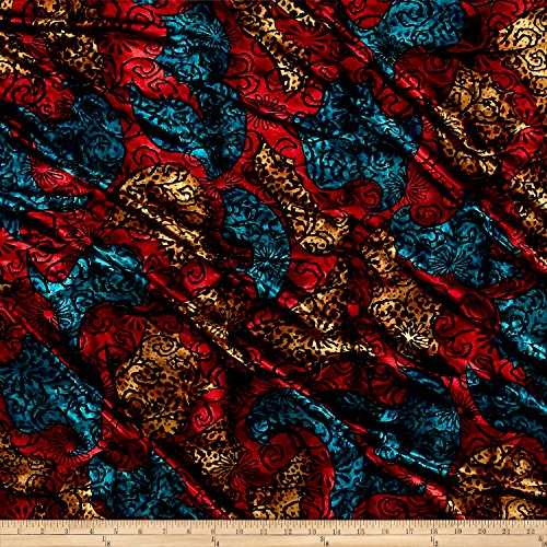 Burnout Fabric - TELIO Stretch Velvet Burnout Floral Fabric by the Yard, Black/Red/Blue/Yellow
