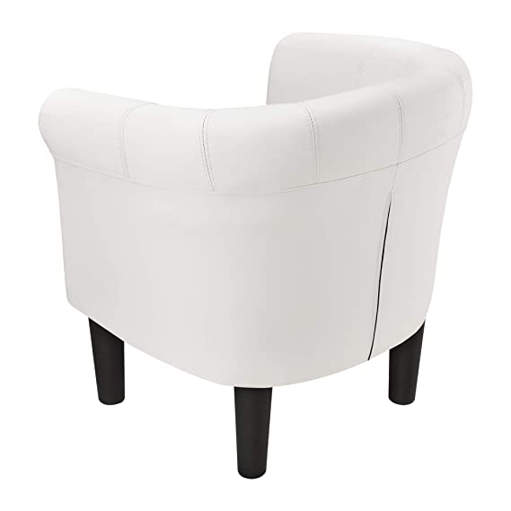 [en.casa]®] Sillón Relax Elegante Butaca 70x70x58 cm Asiento cómodo de Piel sintética Blanco