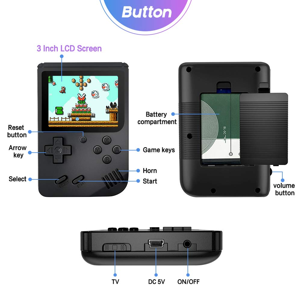 MEEPHONG Handheld Game Console, TV Output Retro FC Plus Extra Joystick NES Classic Game Console Built-in 168 Handheld Video Games (Black) by MEEPHONG (Image #2)