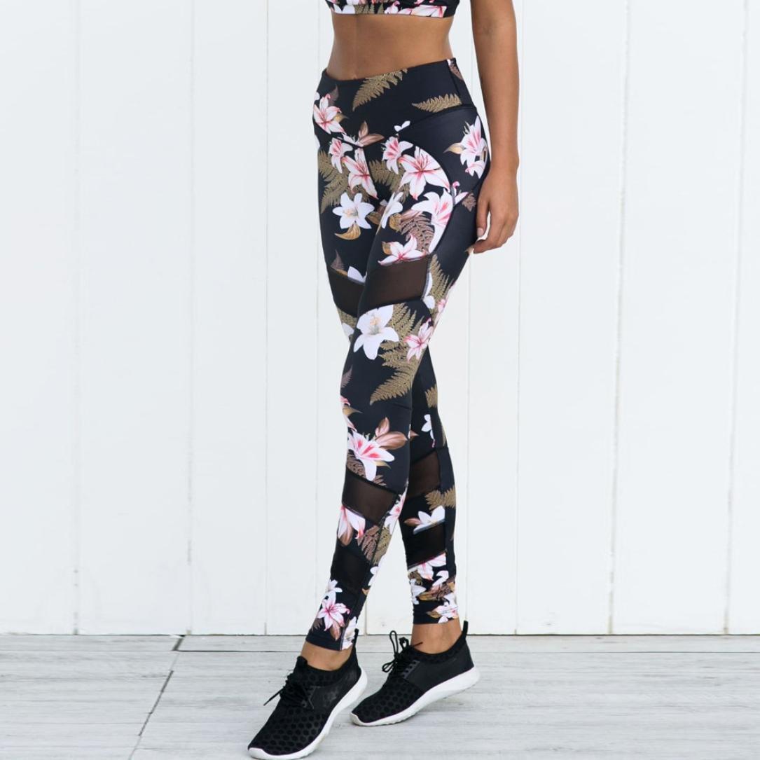 Keepwin Fitness Leggings Frauen Sport Hosen Laufhose Damen Blumen Druckte Patchwork-Perspektive Mesh Yoga Tights Gym Hose