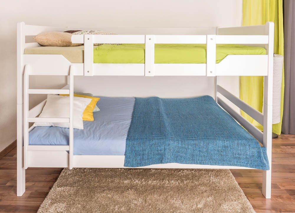 Etagenbett Stockbett Easy Premium Line  K16 n, Kopf- und Fußteil gerade, Buche Vollholz massiv Weißszlig; lackiert - Liegefläche  160 x 190 cm, teilbar
