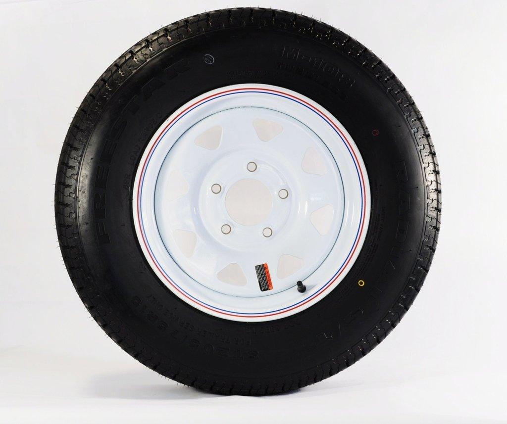2-Pack Radial Trailer Tire & Rim ST175/80R13 13'' Load C 5 Lug White Spoke 57880