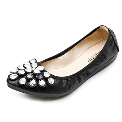4671ca37c11631 Image Unavailable. Image not available for. Color  Women Flower Rhinestone  Ballet Flats Folding Shoe ...