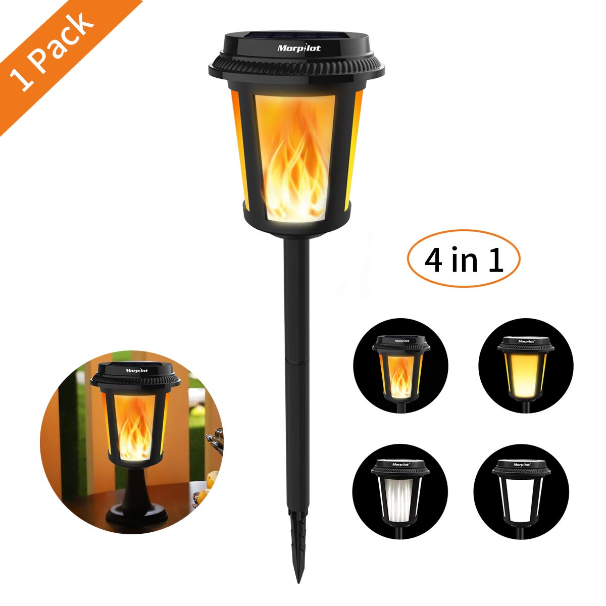 WHITE OR FLAME SOLAR OUTDOOR LIGHT