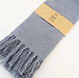 Set of 4 Cotton Linen Dinner Napkins -15''x23''(38x60CM),Kicthen Table Cloth with Tassel Design,Knit Style in Grey Color , for Hotel ,Home ,Party ,Tea Coffee Cocktail Napkin